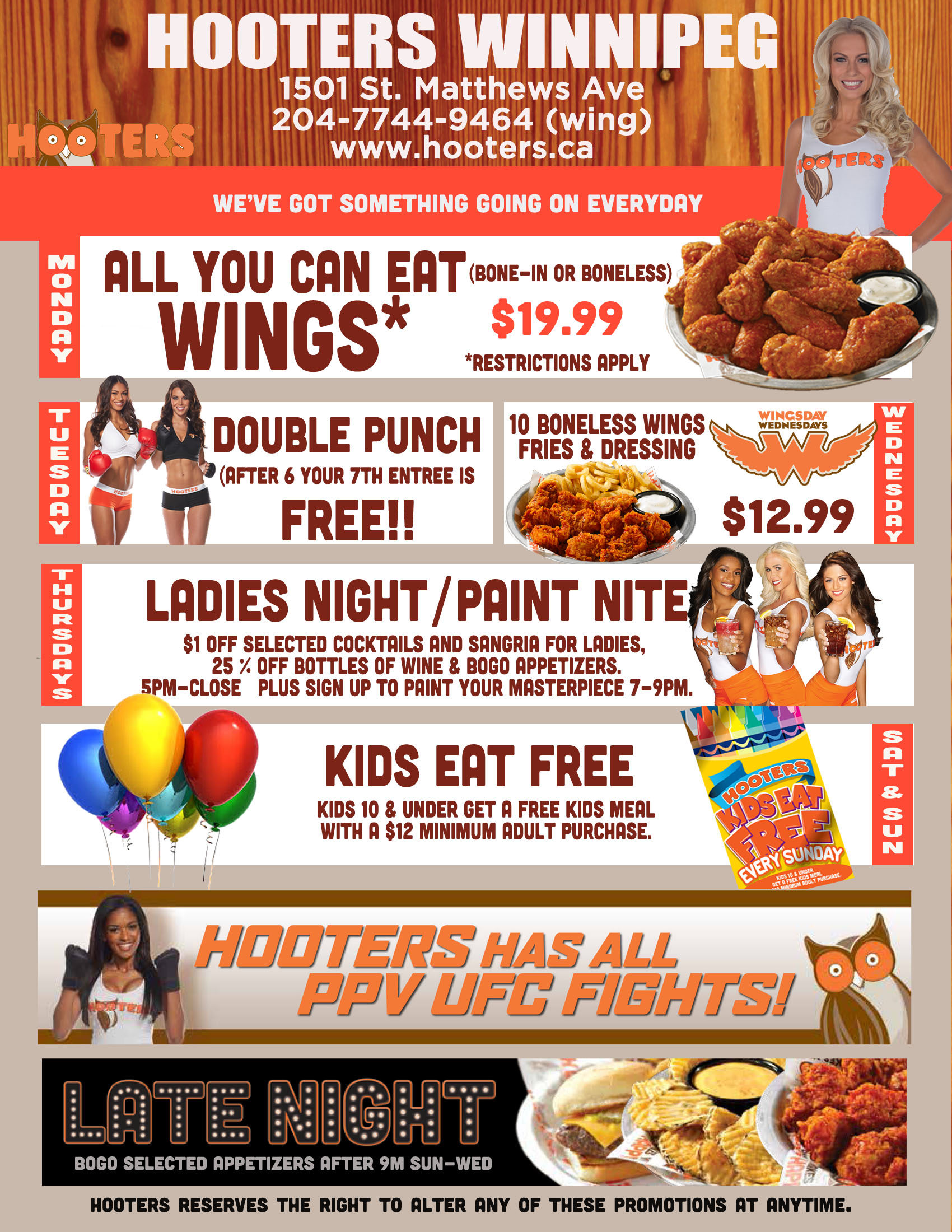 Hooters deals on sunday