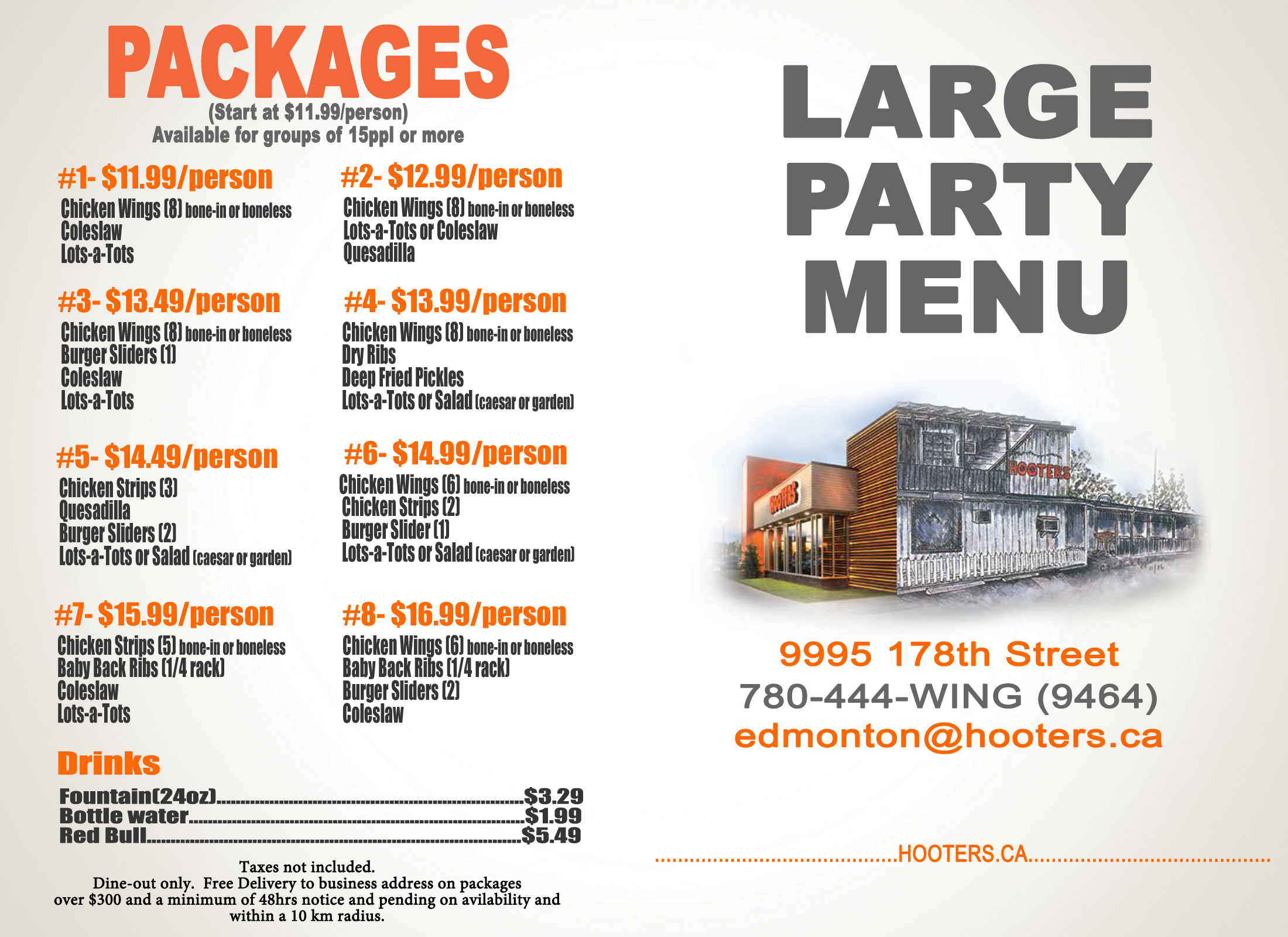 Revised Catering Menu Edmonton Outside
